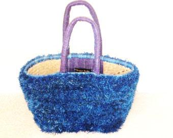 Raffia Bag-Grass Bag-Paris Totes-Royal Blue Grass Bag-100% Handmade Raffia Grass Bag .