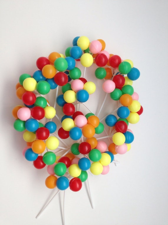 12 clusters-Colorful Plastic Balloon Picks Cupcake or Cake