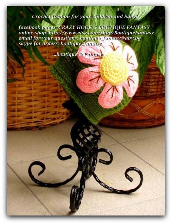 Crochet girls hat, Flower hat, Crocheted baby beanie , Girls beanie, Crochet spring hat