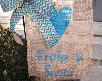 Personalized Burlap Garden Flag  / Yard Flag with Chevron Bow