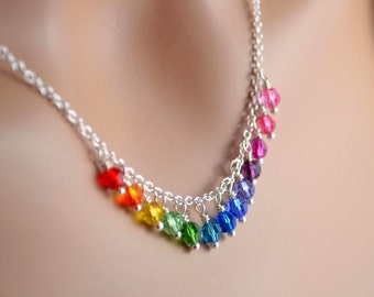 Rainbow Crystal Necklace, Swarovski Beads, Silver Plated Chain, Fun Bright Colorful Jewelry, Wire Wrapped Fringe