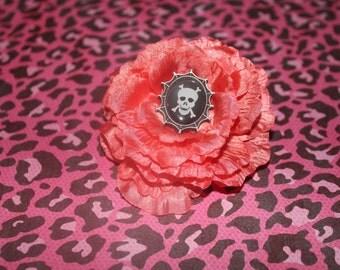 Skull Flower Hair Clip Peach