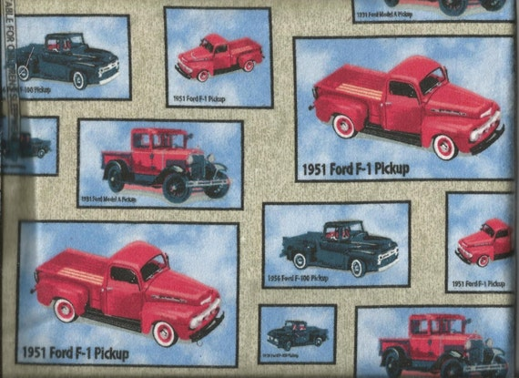 Antique ford trucks flannel fabric remnant by annssewshoppe for Little blue truck fabric