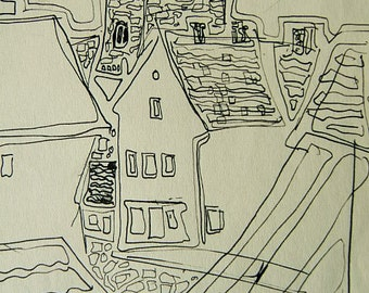 """Swedish Land; Ink Line Drawing, unknown location, ca. 1970's, may be in Sweden, """"Visty"""" area, ORIGINAL drawing."""