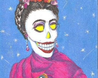 Day of the Dead/ Dia de Los Muertos Print - The One and Only Frida by Lisa Cabrera