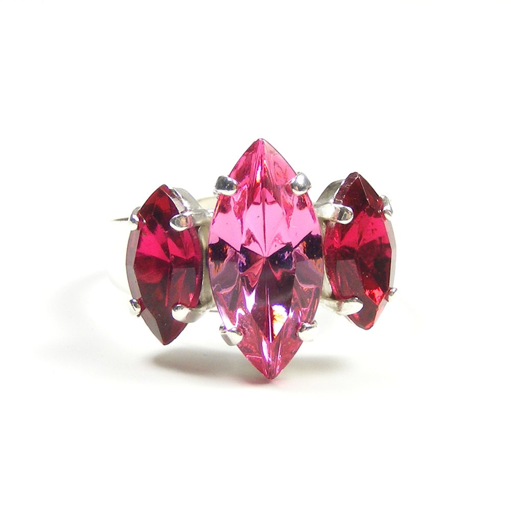 Fuchsia Pink Statement Ring, Downton Abbey Style Adjustable Cocktail Ring with Vintage Swarovski Crystal Jewels in Rose & Fuchsia