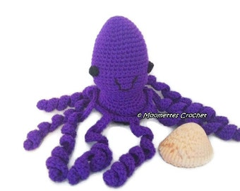 Large Amigurumi Octopus Dark Purple Cute Stuffed Animal ...