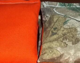 8 ACA Regulation Cornhole Bags - 4 handmade from Realtree Fabric  & 4 Solid Orange