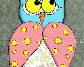 printable 8x10 polka dot owl print