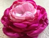 Pink satin ombre flower, satin singed flower, satin flower, pink flower