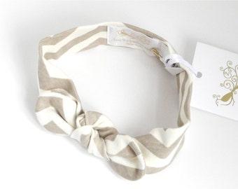 Organic knit headband, Beige Chevron,HB135