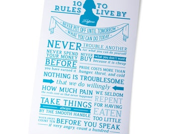 Turquoise/Cream Thomas Jefferson's 10 Rules to Live By Motivational Poster