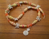 PAPER BEAD JEWELRY Paper Beads Gold Peach Green White Silver Butterflies