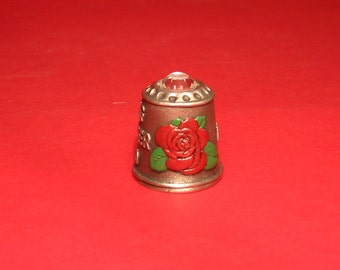Mother's Day Thimble With Swarovski Crystal Mothering Sunday Pewter Collectible Thimble