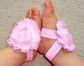 Baby Barefoot Sandals - Pink Piggy Petals - Toe Blooms - Flower Sandals - Baby Shower Gift - Toddler Shoes - Baby Shoes - Newborn Shoes