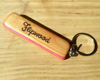 Recycled Skateboard Keychain - Oval Pink and Blue