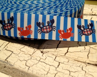 "7/8"" Preppy CRAB Nautical Grosgrain Ribbon sold by the yard"