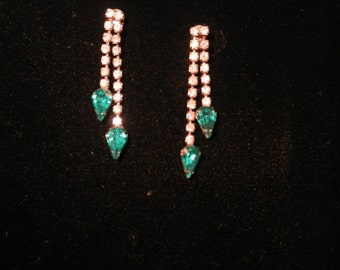 Vintage Rhinestone Pierced Earrings with Emerald Colored Stones