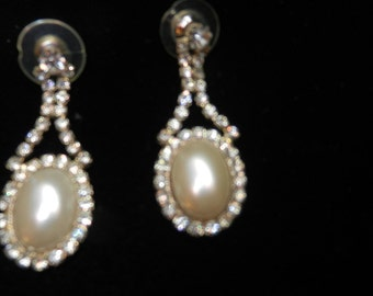 Vintage Rhinestone Pierced Earrings with White Pearl Centers . 1980s