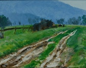 Original Oil Painting, Berkshire Landscape, Muddy Path, Autumn, Fall by Robert Lafond