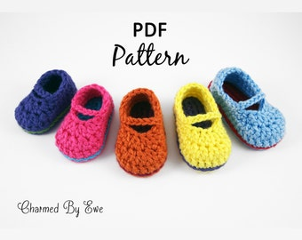 Sweet Baby Mary Janes Slippers / Booties Crochet Pattern