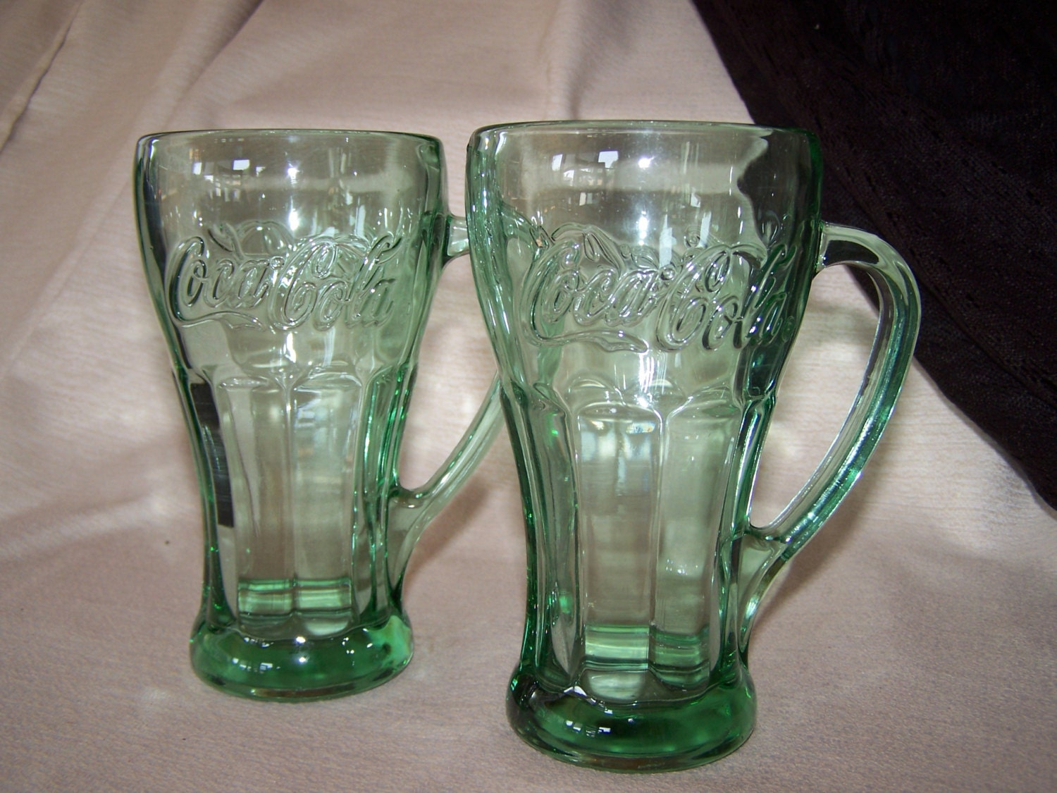 Vintage Coca Cola green glasses with handles set of two