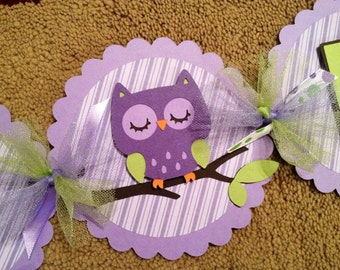 Owl Happy Birthday Banner (Purple and Green)
