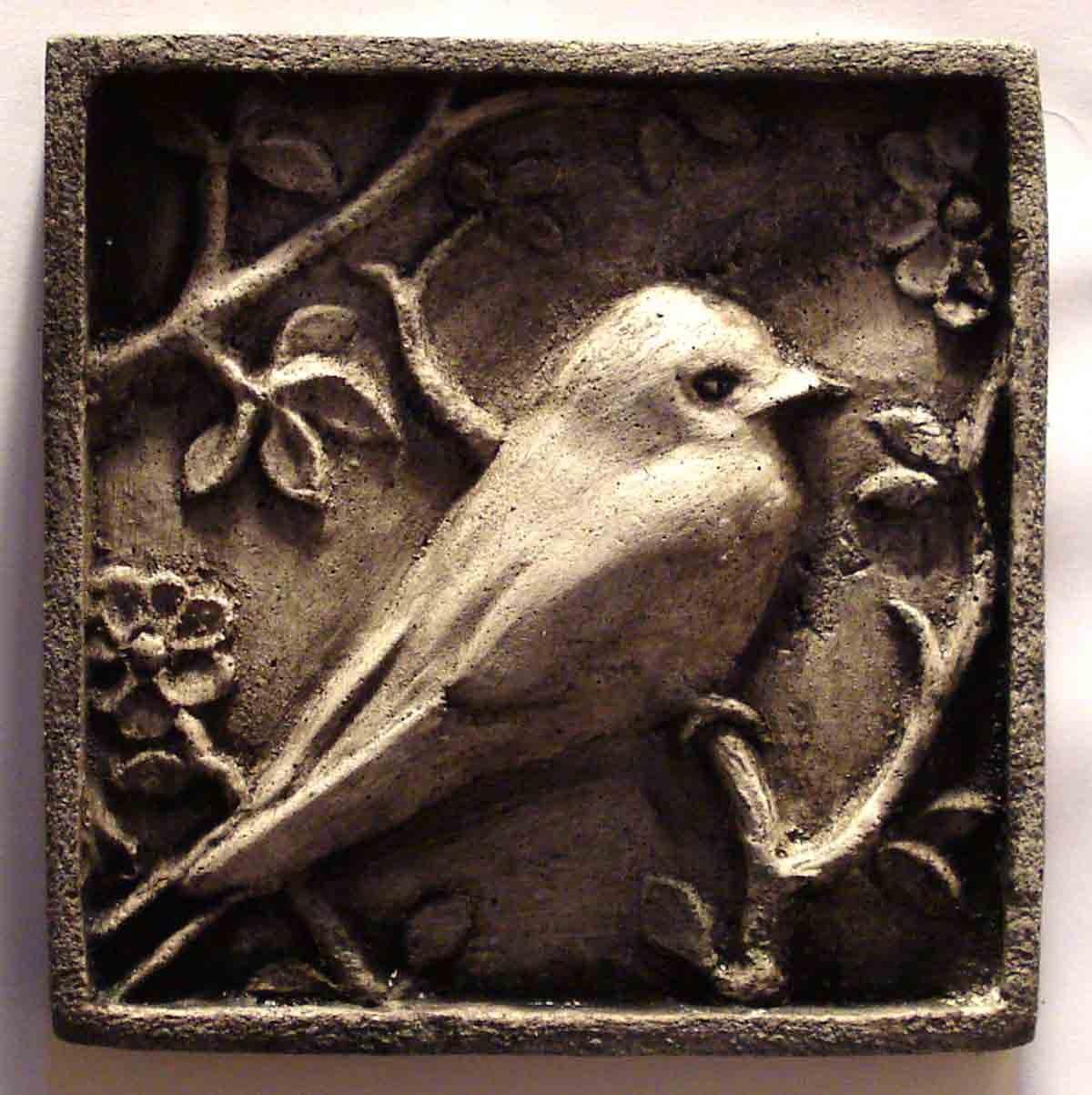 Handmade carved relief decorative bird stone wall plaque