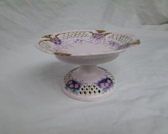 Porcelain Hand Painted Pedestal Plate, Made in Occupied Japan