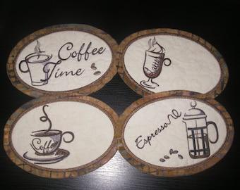 Set of 4 Coffee Mug Mats (Mug Rugs)