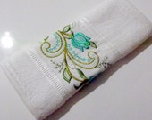 "13""x20"" 1 psc Sweet Turquoise Green Flowers Embroidered Kitchen Towel,Cotton Oven Towel,Turkish towel"