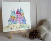 Original colourful watercolour painting with multi-coloured houses in a landscape, this is an original watercolour painting.