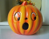 Vintage Halloween Jack-o-Lantern Planter Ceramic Decoration Autumn