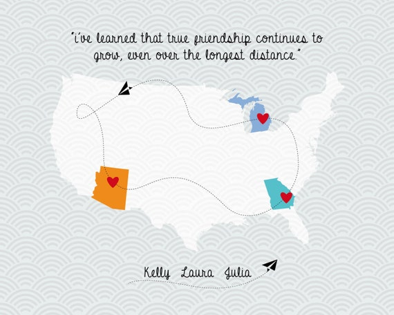 Quote About Distance And Friendship Mesmerizing Long Distance Friendship Love Map Family Quote Map