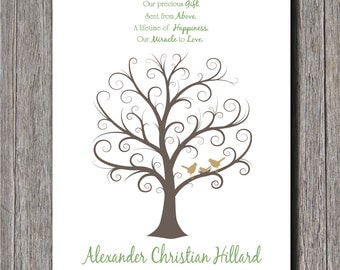 Baby Shower Fingerprint Tree -  8x10 - Guest Book Tree - NB - Up to 50 Fingerprints