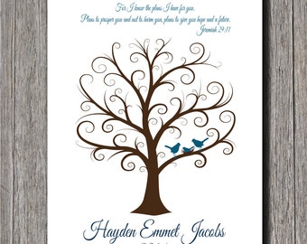 Baby Shower Fingerprint Tree -  20x30 - Guest Book Tree - NB - 250 Fingerprints