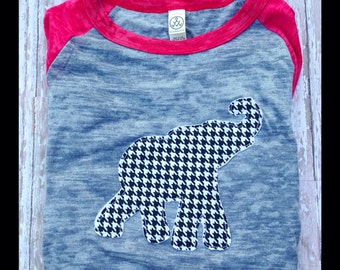 Alabama Crimson Tide Houndstooth Appliquéd Elephant  3/4 T-shirt
