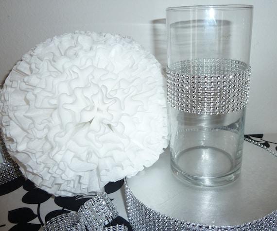 Items Similar To Faux Rhinestone Cylinder Vase Bling Wedding Centerpiece Bridal Bouquet Holder