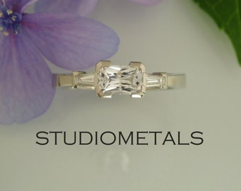 Emerald Cut Engagement Ring, White Sapphire Engagement Ring, Emerald Cut Ring, R154