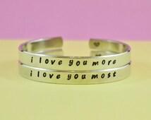 i love you more/i love you most - Hand Stamped Cuff Bracelets Set, Forever Love, Mother Daughter Bracelets