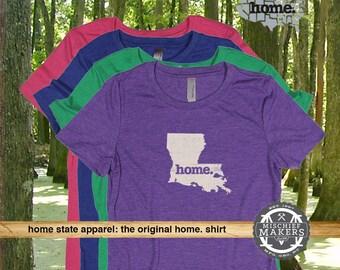 Louisiana Home. T-shirt- Womens Red Green Royal Pink Purple