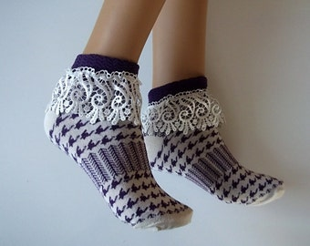 Boot socks machine knit lace trim ,girls lace socks