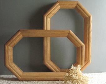 Vintage Octagon Wood Frame Etsy