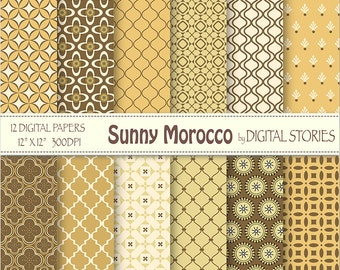 "Moroccan Digital Paper: ""SUNNY MOROCCO"" Orange Gold Yellow Brown Moroccan patterns for scrapbooking, invites, cards"