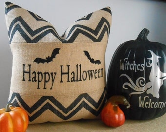 Halloween chevron burlap pillow cover 18x18