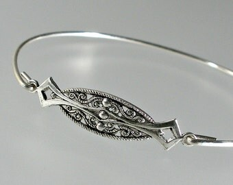 Art Deco Filigree Bangle Bracelet, Silver Bangle Bracelet, Silver Bracelet, Bridesmaid Jewelry (195S,)