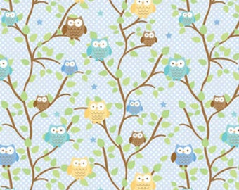 Doodlebug Designs for Riley Blake, Snips & Snails Owls Blue Fabric 1/2 Yard