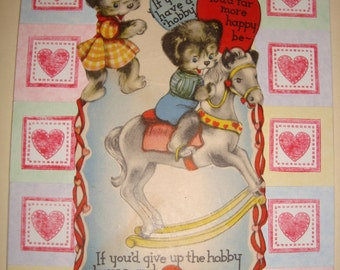 """Unique Handmade Cards with Vintage Valentine's Card cutouts """"Animals"""""""