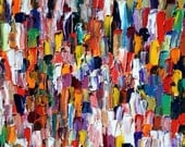 Wall Art Painting Original Oil Painting Contemporary Home Decor Abstract palette knife Textured Modern MultiColored Red Title: Square BizIII