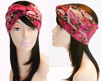 Floral Leopard Print Turban Headband Beige Fuchsia Olive Boho Head Wrap Stretch Knit Womens Animal Floral Head Scarf